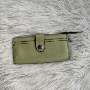 Fossil green leather bifold wallet